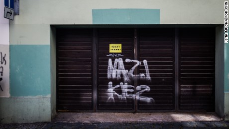 "Neo-Nazi grafitti that reads ""Nazi Kiez (Nazi neighborhood) is seen in Bautzen's town center."