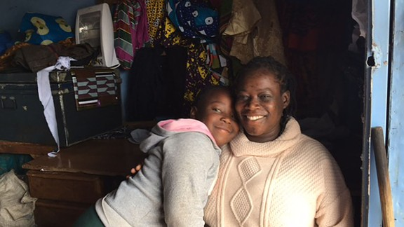 Jane Iskah Oyora and her daughter Gift who live in a Kenyan slum where violence has become commonplace after recent elections.
