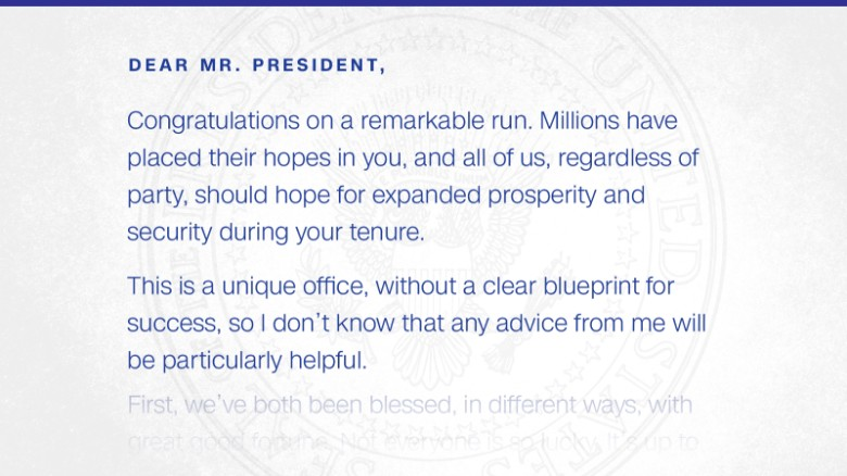 Read the Inauguration Day letter Obama left for Trump CNNPolitics