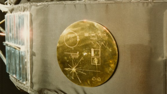 A gold record in its cover, attached to a Voyager space probe, USA, circa 1977.