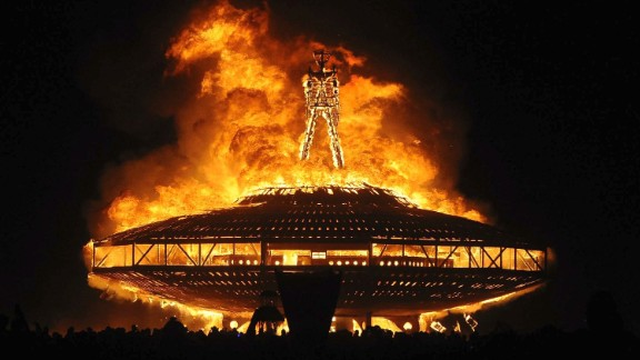 "The ""Man"" burns on the Black Rock Desert at Burning Man in 2013."