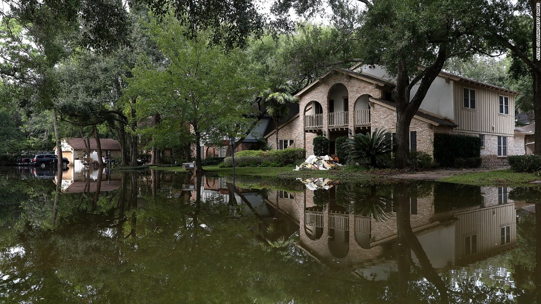 Following the devastation of Hurricane Harvey in 2017, homes were surrounded by floodwater in Houston, Texas.
