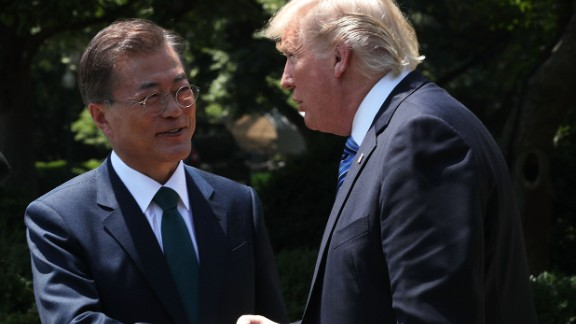 President Donald Trump and South Korean President Moon Jae-in shake hands during joint statements in the Rose Garden of the White House on June 30, 2017 in Washington, DC.