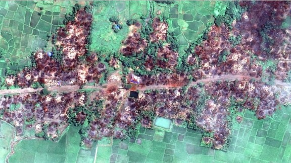 Images obtained by Human Rights Watch which allegedly show the complete destruction of the Rakhine State village of Chein Khar Li.