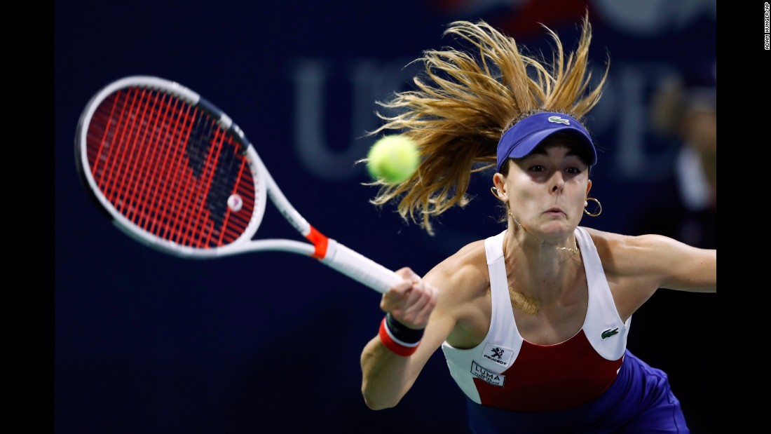 Alize Cornet returns a shot during her second-round match at the US Open on Wednesday, August 30.