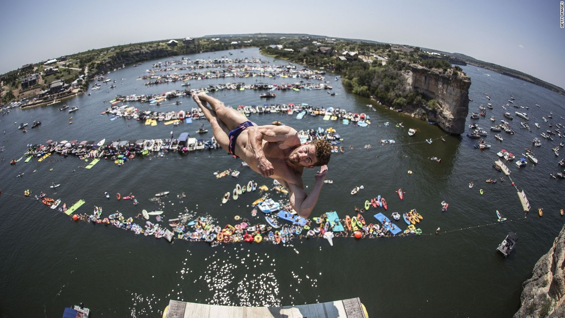 David Colturi leaps over Texas' Possum Kingdom Lake as he competes in the Red Bull Cliff Diving World Series on Sunday, September 3.