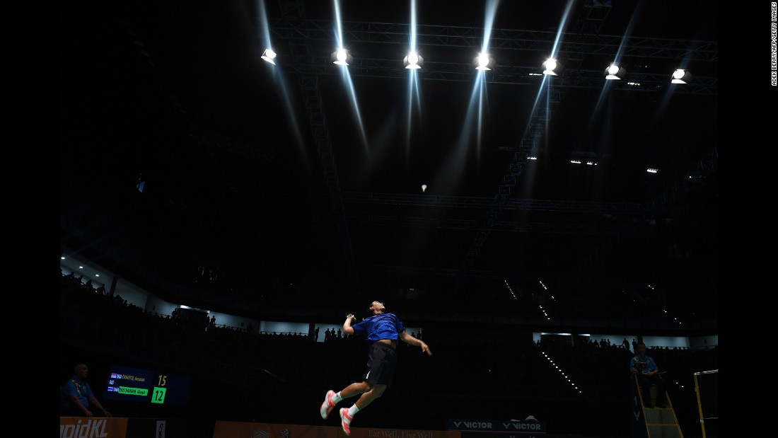 Khosit Phetpradab, a badminton player from Thailand, returns a shot against Indonesia's Jonatan Christie during the final of the Southeast Asian Games on Tuesday, August 29. Christie took home the gold.