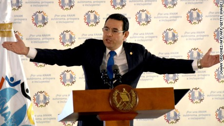 Guatemalan President Jimmy Morales speaks during a meeting with mayors of the whole country in Guatemala City on August 29, 2017. Guatemala faced a fresh political crisis Sunday as President Jimmy Morales tried to expel a UN official investigating him for suspected corruption, but was overruled by the courts. / AFP PHOTO / JOHAN ORDONEZ        (Photo credit should read JOHAN ORDONEZ/AFP/Getty Images)