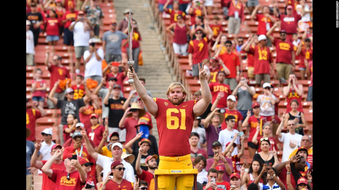 "USC long snapper Jake Olson, <a href=""http://www.cnn.com/2016/01/06/health/turning-points-jake-olson/index.html"" target=""_blank"">who is blind,</a> leads the school's marching band after the football team defeated Western Michigan on Saturday, September 2. Olson <a href=""http://bleacherreport.com/articles/2731160-blind-usc-long-snapper-jake-olson-takes-field-for-successful-extra-point-attempt"" target=""_blank"">played in a game</a> for the first time in his career, snapping the ball for a successful extra point."