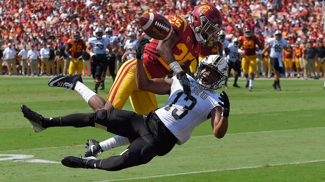 USC cornerback Jack Jones, top, defends Western Michigan wide receiver Keishawn Watson during a college football game in Los Angeles on Saturday, September 2.