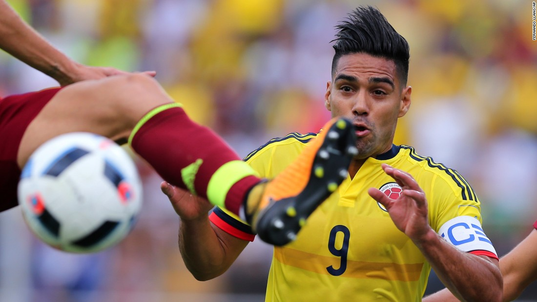 Colombian striker Radamel Falcao reacts as Venezuela's Mikel Villanueva reaches the ball during a World Cup qualifier on Thursday, August 31. The match ended scoreless.