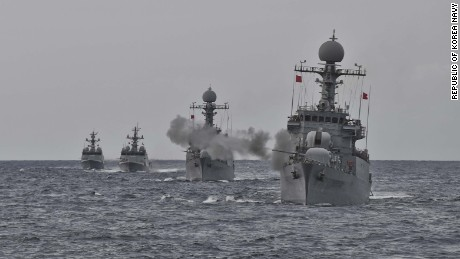 South Korea's Navy conducted a live-fire drill in the waters off the east coast of the Korean Peninsula in response to North Korea's Sunday nuclear test.