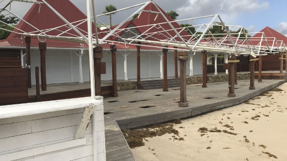 These homes on Nikki Beach in St. Barts are deserted Tuesday ahead of Hurricane Irma.