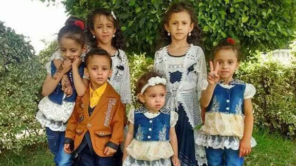 The last family photo of the al-Raimi siblings together before an airstrike hit their homes. Buthaina, far right, is the only survivor.