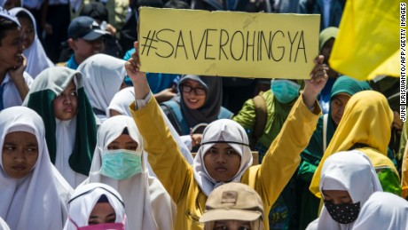 Indonesians protest against Myanmar and in support of the Rohingya, in the city of Surabaya earlier this month.