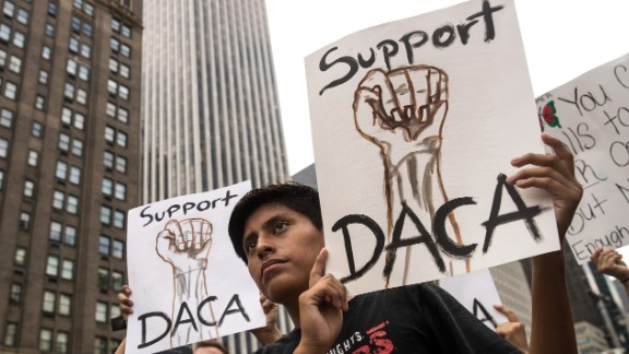 Immigration activists rally in support of the DACA program during a protest in Grand Army Plaza in Manhattan, New York on September 5.