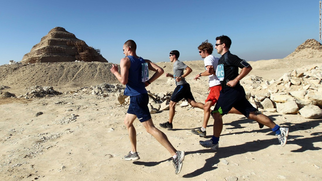 "Grab yourself a team of 10 for the 62-mile <a href=""http://www.egyptianmarathon.com/indexdebf.html?option=com_content&view=article&id=48&Itemid=41"" target=""_blank"">100km Pharaonic Race</a>. According to the race's website the event can trace its roots back to 690-665 BC, when ""during the reign of King Taharka... the king went to inspect an army camp and found the soldiers in perfect physical fitness. It was then that he laid down the rules for the running race."" Running between a number of pyramids, the king himself purportedly took part. No record of his finish time exists, however."