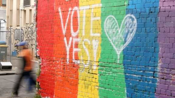 """SYDNEY, AUSTRALIA - AUGUST 28:  A wall painted with the rainbow flag and a message """"Vote Yes"""" is seen in Newtown on August 28, 2017 in Sydney, Australia. The Australian Marriage Law Postal Survey, which will decide if same-sex marriage is to be legalised, is due to be sent out by the Australian Bureau of Statistics on September 12.  (Photo by Mark Kolbe/Getty Images)"""