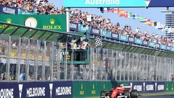 The German took the checkered flag at the season opener in Melbourne leaving Hamilton and the Briton's new Mercedes teammate -- Valtteri Bottas -- trailing in his wake.  Drivers' title race after round 1  Vettel 25 points Hamilton 18 points Bottas 15 points