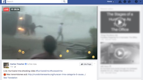 "This Facebook page purports to show ""live"" footage of Hurricane Irma."