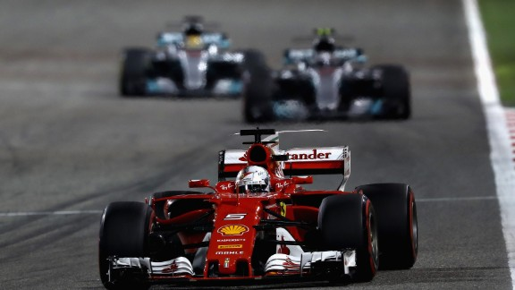 Vettel prevailed in Bahrain after Bottas had claimed a maiden pole in qualifying. During the race Hamilton was handed a five-second stop-go penalty for holding up Red Bull's Daniel Ricciardo in the pit lane. Vettel took full advantage eventually cruising to a comfortable win.   Drivers' title race after round 3  Vettel 68 points Hamilton 61 points Bottas 38 points