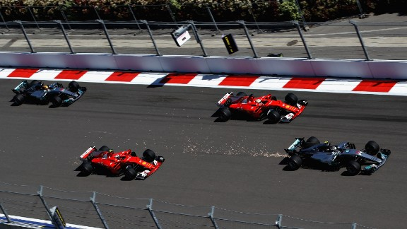 After claiming a first-ever pole in Bahrain, Bottas (far right) soared to a maiden F1 victory at the Russian Grand Prix. A fast start enabled the Finn to overtake the two Ferraris at the front of the grid. Vettel chased Bottas hard all the way to the line to claim second. Hamilton finished fourth.   Drivers' title race after round 4  Vettel 86 points Hamilton 73 points Bottas 63 points