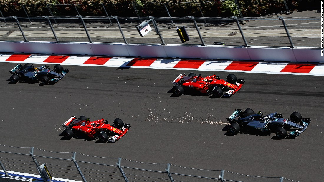 After claiming a first-ever pole in Bahrain, Bottas (far right) soared to a maiden F1 victory at the Russian Grand Prix. A fast start enabled the Finn to overtake the two Ferraris at the front of the grid. Vettel chased Bottas hard all the way to the line to claim second. Hamilton finished fourth. <br /><br /><strong>Drivers' title race after round 4</strong> <br />Vettel 86 points<br />Hamilton 73 points<br />Bottas 63 points
