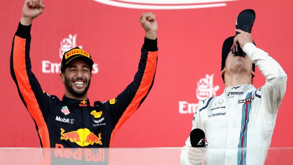 A chaotic race in Azerbaijan saw both Vettel and Hamilton miss the podium for the first time in 2017. The pair clashed on track during a Safety Car period from which Ricciardo ultimately profited. The Aussie's unlikely win was the fifth of his career, while Williams' teenager driver Lance Stroll (right) took third to become the youngest F1 rookie ever to make the podium.  Drivers' title race after round 8 Vettel 153 points Hamilton 139 points Bottas 111 points