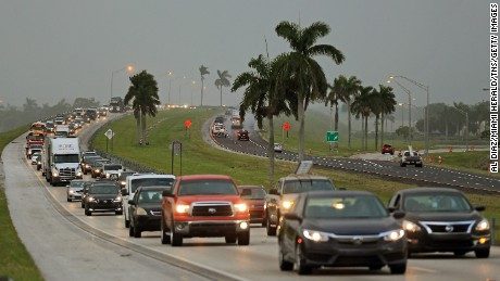 Traffic heads north along the Florida Turnpike near Homestead as tourists in the Florida Keys leave town on Wednesday, September 6, 2017.