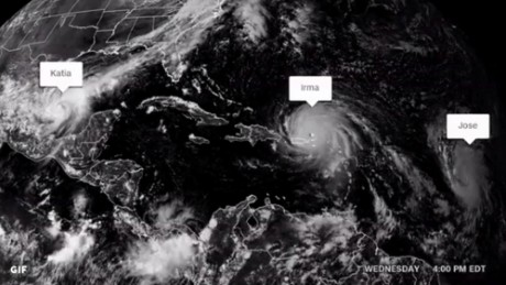 There are 3 hurricanes in the Atlantic basin