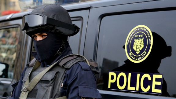An Egyptian policeman stands guard in Cairo