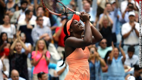 NEW YORK, NEW YORK - SEPTEMBER 05: Sloane Stephens of the United States celebrates after defeating Anastasija Sevastova of Latvia in their Women's Singles Quarter Final match on Day Nine of the 2017 US Open at the USTA Billie Jean King National Tennis Center on September 5, 2017 in the Flushing neighborhood of the Queens borough of New York City.  (Photo by Abbie Parr/Getty Images)