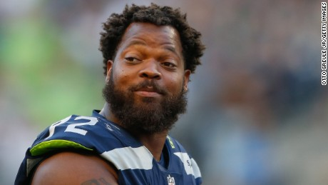 Defensive end Michael Bennett #72 of the Seattle Seahawks looks on during the game against the Kansas City Chiefs at CenturyLink Field on August 25, 2017 in Seattle, Washington.