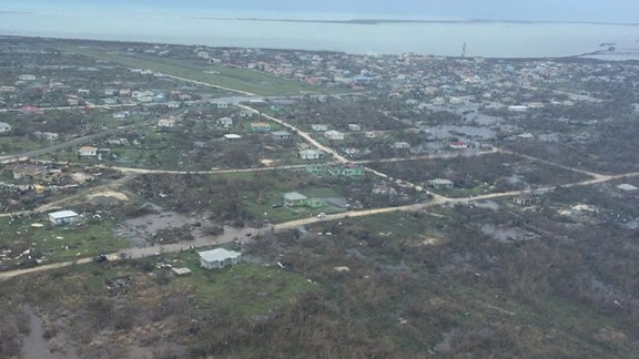This aerial image over Barbuda on Thursday, September 7, 2017, shows damage left by Hurricane Irma the day earlier.