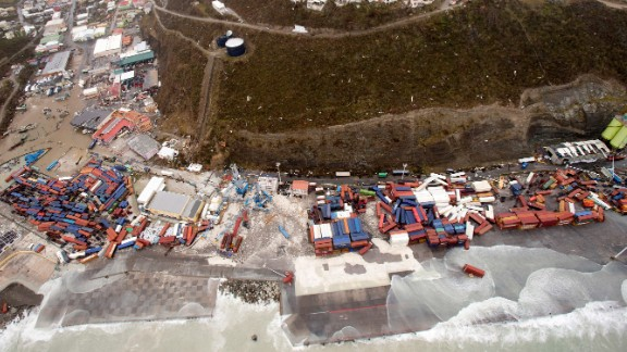 An aerial view of St. Martin on September 6.