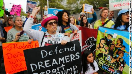 "NEWARK, NJ - SEPTEMBER 06: Immigration activists protest the Trump administration's decision to end the Deferred Action for Childhood Arrivals (DACA) program on September 6, 2017. in Newark, New Jersey. The decision represents a blow to young undocumented immigrants, also known as ""dreamers,"" who have been shielded from deportation under DACA.  (Photo by Eduardo Munoz Alvarez/Getty Images)"