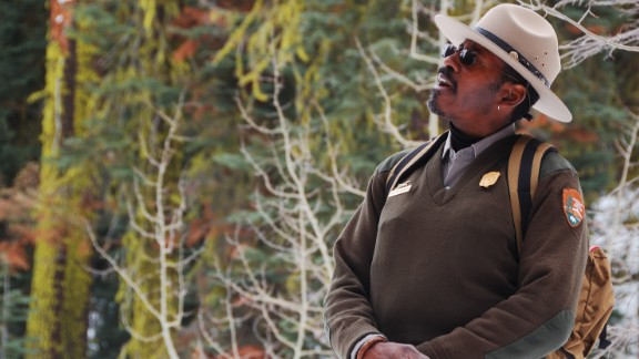 Park Ranger Shelton Johnson conducts a snowshoe walk at Badger Pass in California's Yosemite National Park.