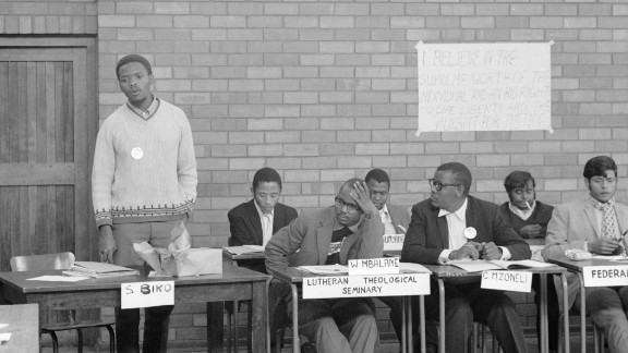 Biko (left) addresses council members of the South African Students Organization at the University of Natal, Durban in July, 1971.