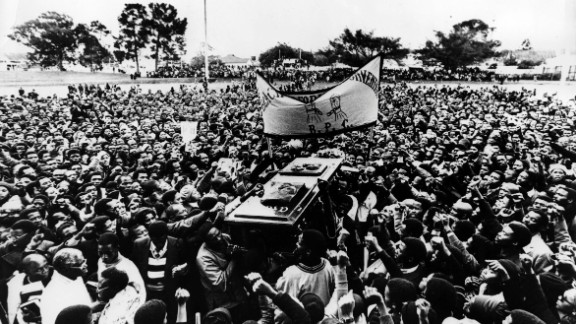 "Huge crowds gathered for the funeral of Biko on September 25, 1977. In life, one of his famous slogans was ""black is beautiful."""