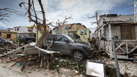 This Sept. 7, 2017 photo provided by the Dutch Defense Ministry shows storm damage in the aftermath of Hurricane Irma, in St. Maarten. Irma cut a path of devastation across the northern Caribbean, leaving thousands homeless after destroying buildings and uprooting trees. Significant damage was reported on the island that is split between French and Dutch control. (Gerben Van Es/Dutch Defense Ministry via AP)
