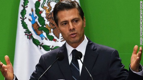 Mexican President Enrique Pena Nieto delivers a speech during the Third International Forum for Financial Inclusion at the National Palace in Mexico City, on September 7, 2017.  / AFP PHOTO / PEDRO PARDO        (Photo credit should read PEDRO PARDO/AFP/Getty Images)