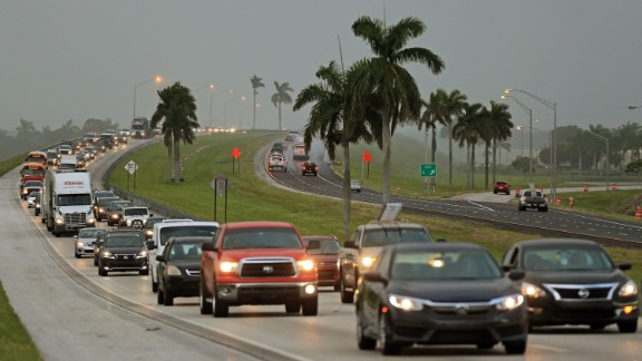 People in the Florida Keys leave town on Wednesday, September 6.