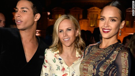 PARIS, FRANCE - JULY 07:  (L-R) Balmain Creative Director Olivier Rousteing, Tory Burch and actress Jessica Alba attend the Tory Burch Paris Flagship store opening after party at  on July 7, 2015 in Paris, France.  (Photo by Pascal Le Segretain/Getty Images for Tory Burch)