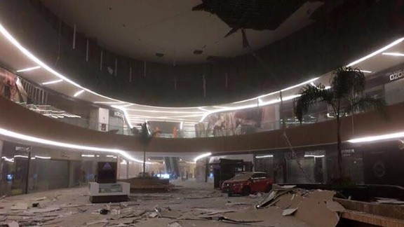 Damage is seen inside a mall in Tuxtla Gutierrez, Mexico.