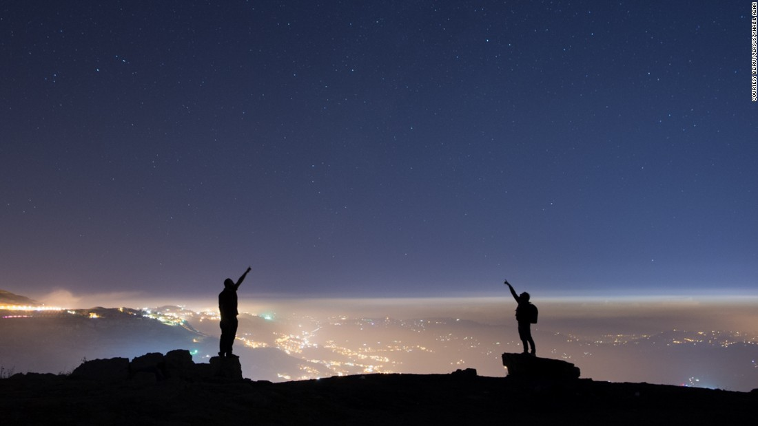 An inversion layer of cloud keeps light pollution from the city of Falougha, in central Lebanon, at bay.