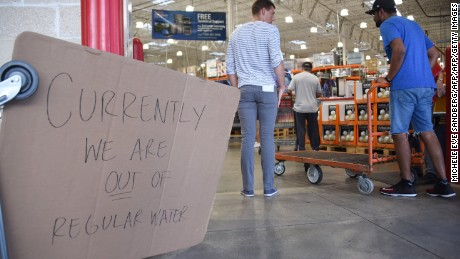 Costco ran out of water as people shop to prepare for Hurricane Irma on September 5, 2017 in North Miami. The monster hurricane coming on the heels of Harvey, which struck Texas and Louisiana late last month, is expected to hit a string of Caribbean islands including Guadeloupe late Tuesday before heading to Haiti and Florida. The Miami-based National Hurricane Center said Irma had strengthened to the most powerful Category Five, packing winds of 180 miles (280 kilometers) per hour.  / AFP PHOTO / Michele Eve Sandberg        (Photo credit should read MICHELE EVE SANDBERG/AFP/Getty Images)