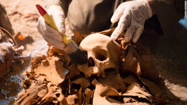 Researchers discovered a number of skulls inside the tomb.