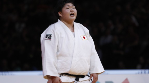 Japan Sarah Asahina reacts after defeating Japan Kanae Yamabe during +78 kgs final, on February 12, 2017 at the AccorHotels Arena in Paris, during the Judo Grand Slam Paris 2017.    / AFP / PATRICK KOVARIK        (Photo credit should read PATRICK KOVARIK/AFP/Getty Images)