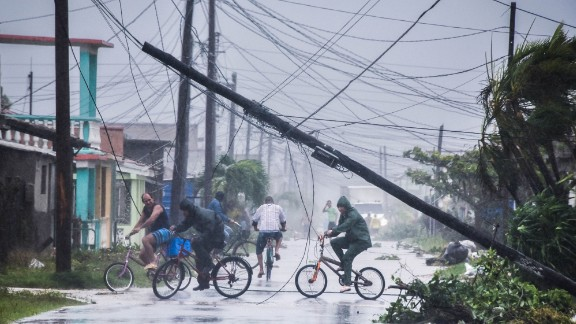 Residents return home after Irma passed through Caibarien, Cuba, on September 9.