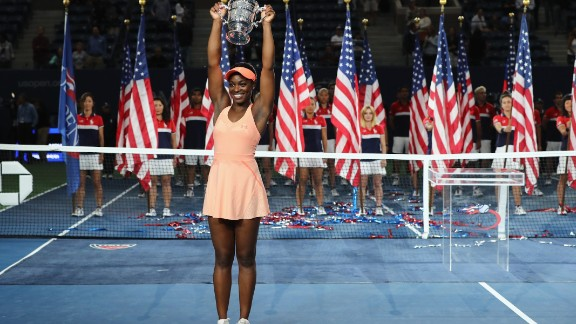 NEW YORK, NY - SEPTEMBER 09:  Sloane Stephens of the United States poses with the championship trophy during the trophy presentation after the Women